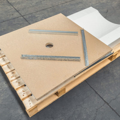 Truciolari e altri componenti per l'imballo di bobine-Wooden panels and other components to package rolls-Tableros de aglomerado y componentes para embalar rollos